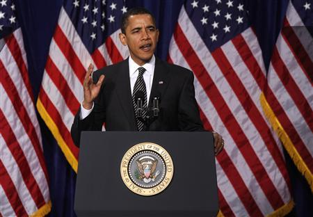 President Barack Obama speaks about relief for Americans facing home foreclosure at Dobson High School in Mesa, Arizona February 18, 2009. REUTERS/Joshua Lott