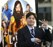 "<p>Cast member Mike Myers gestures at the premiere of ""The Love Guru"" at the Grauman's Chinese theatre in Hollywood, California June 11, 2008. The movie opens in the U.S. on June 20. REUTERS/Mario Anzuoni</p>"