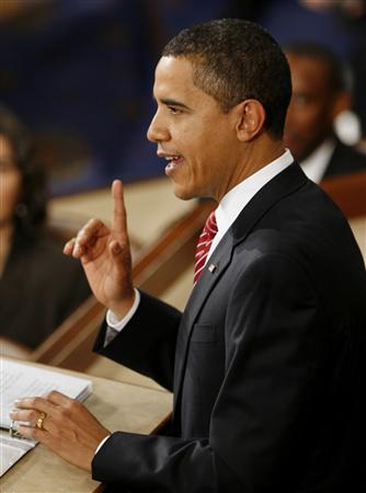 President Barack Obama gives his primetime address to a joint session of the U.S. Senate and House of Representatives on Capitol Hill in Washington, February 24, 2009. REUTERS/Kevin Lamarque