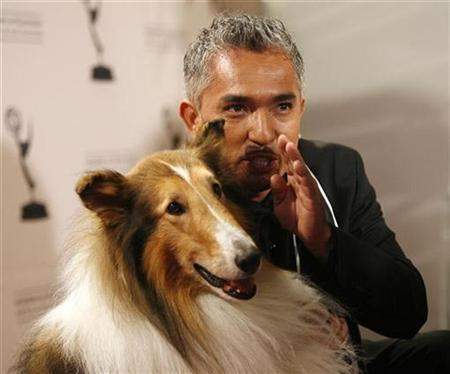 Dog trainer Cesar Millan poses with Lassie at 2008 Primetime Creative Arts Awards in Los Angeles September 13, 2008. REUTERS/Mario Anzuoni