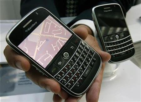A Research in Motion (RIM) ''Bold'' BlackBerry device, which will be available to consumers later this year, is shown before RIM's annual general meeting of shareholders in Waterloo, Ontario, July 15, 2008. REUTERS/Mike Cassese