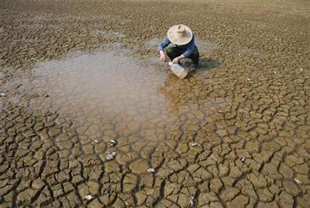 A farmer takes rain water for his daily use at a dried-up pond on the outskirts of Yingtan, Jiangxi province February 24, 2009. REUTERS/Stringer