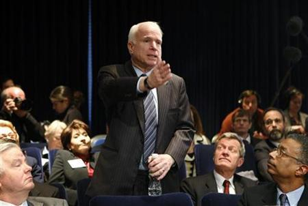 Senator John McCain speaks at the Fiscal Responsibility Summit at the White House in Washington in this February 23, 2009 file photo. REUTERS/Kevin Lamarque