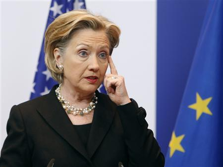 Secretary of State Hillary Rodham Clinton speaks at a news conference after a meeting with EU officials at the European Council headquarters in Brussels March 6, 2009. REUTERS/Yves Herman