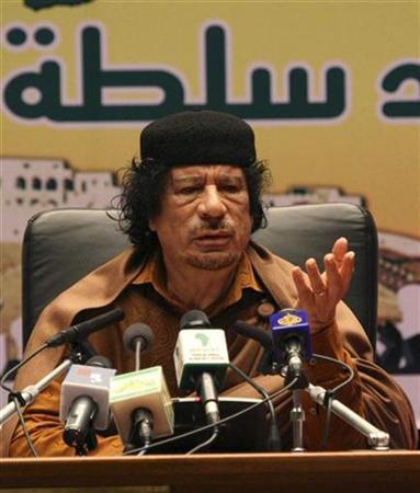 Libyan leader Muammar Gaddafi speaks east of Tripoli, March 2, 2009. REUTERS/Stringer