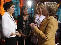 <p>Secretary of State Hillary Clinton (R) talks with Turkish businesswoman Hayriye Ersoy (L) as she is flanked by Turkish talk show hosts Cigdem Anad (2nd R) and Aysun Kayaci (2nd L) after the taping of their talk show for Turkish broadcaster NTV in Ankara March 7, 2009. REUTERS/Osman Orsal</p>
