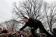 "<p>Bono of U2 perform with the band at Forham University in New York during a broadcast of ABC's ""Good Morning America"" in this publicity photo released to Reuters March 6, 2009. The performance coincided with the release of U2's 12th album ""No Line on the Horizon"". QUALITY FROM SOURCE REUTERS/Ida Mae Astute/ABC/Handout</p>"