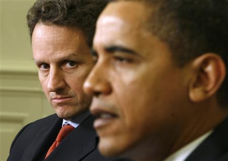 President Barack Obama speaks after receiving his economic daily briefing with Treasury Secretary Timothy Geithner (L) in the Oval Office of the White House in Washington March 11, 2009. REUTERS/Kevin Lamarque