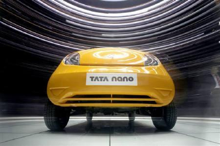 A Tata Nano is displayed during the second media day of the 78th Geneva Car Show at the Palexpo in Geneva in this March 5, 2008 file photo. REUTERS/Denis Balibouse