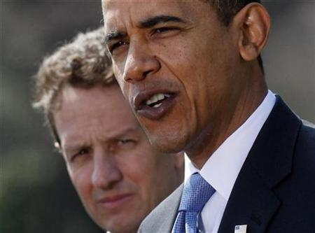 President Barack Obama (R) makes comments on the economic recovery package and American International Group (AIG) with Treasury Secretary Timothy Geithner on the South lawn at the White House in Washington, March 18, 2009. REUTERS/Jim Young