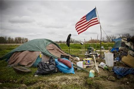 A campsite at a homeless tent city in Sacramento California March 15, 2009. REUTERS/Max Whittaker