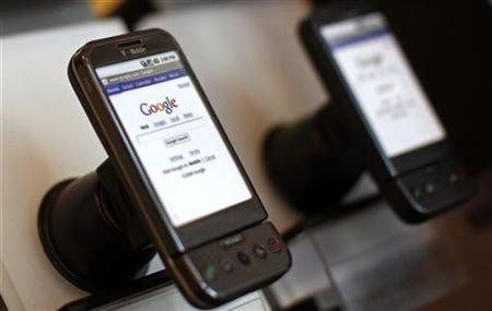 Google T-Mobile G1 mobile telephones are seen on display at a T-Mobile store in New York City, October 22, 2008. REUTERS/Mike Segar