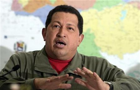Venezuelan President Hugo Chavez speaks at Miraflores palace in Caracas March 21, 2009. REUTERS/Miraflores palace/Handout