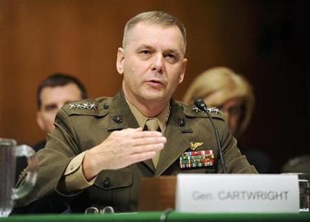 Vice Chairman of the Joint Chiefs of Staff U.S. Marine Corps Gen. James Cartwright testifies at a hearing of the Senate Armed Services Committee on the situations in Iraq and Afghanistan, on Capitol Hill in Washington September 23, 2008. REUTERS/Jonathan Ernst