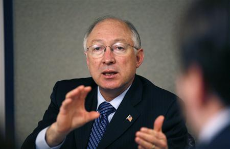 U.S. Interior Secretary Ken Salazar speaks during an interview with Reuters in Washington March 24, 2009. REUTERS/Molly Riley