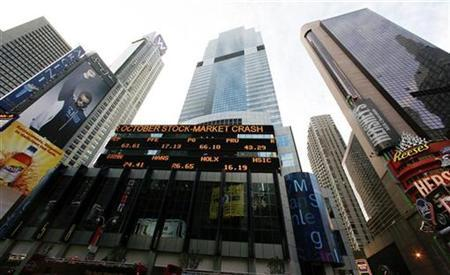 A stock ticker is seen on the outside of the Morgan Stanley building in New York, October 8, 2008. REUTERS/Lucas Jackson