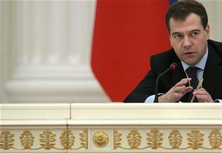 Russian President Dmitry Medvedev chairs a meeting in Moscow's Kremlin, March 4, 2009. REUTERS/Natalia Kolesnikova/Pool