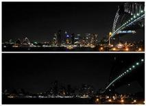 """<p>Las luces se apagaron el sábado en sitios turísticos y viviendas alrededor del mundo para la """"Hora del Planeta"""" 2009, un evento mundial para crear conciencia sobre la amenaza del cambio climático. En las fotos, una vista de la ciudad de Sidney antes y durante el evento. 28 mar 2009. REUTERS/Patrick Riviere (Imagen superior de AUSTRALIA CITYSCAPE ENVIRONMENT SOCIETY)</p>"""