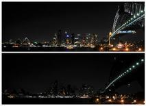 <p>Uma montagem da paisagem de Sydney antes e depois das luzes serem desligadas por uma hora na cidade. 28/03/2009. REUTERS/Patrick Riviere</p>