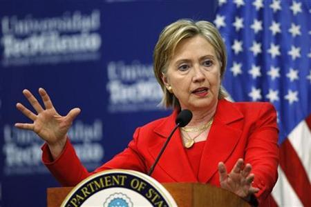 U.S. Secretary of State Hillary Clinton gestures during a news conference in Monterrey, northern Mexico, March 26, 2009. REUTERS/Tomas Bravo