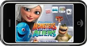 <p>Tela do game Monsters vs. Aliens para iPhone. O aparelho surgiu como uma plataforma séria para videogames, concretizando a promessa dos jogos em celulares e se posicionando como um concorrente legítimo dos sistemas portáteis de videogames.</p>
