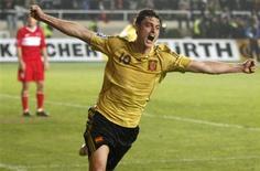 <p>Albert Riera, da Espanha, comemora gol contra a Turquia, nas eliminatórias europeias da Copa de de 2010, em Istambul. 01/04/2009. REUTERS/Umit Bektas</p>
