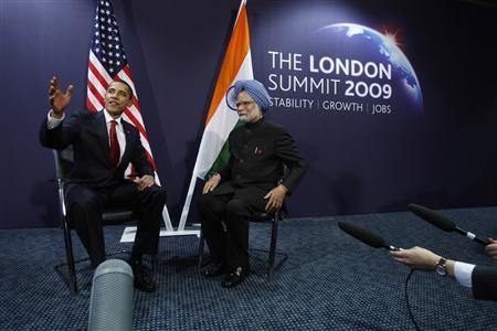 U.S. President Barack Obama meets with India's Prime Minister Manmohan Singh during their bilateral meeting at the G20 Summit in London, April 2, 2009. REUTERS/Jason Reed
