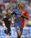 <p>Jogador do Barcelona Samuel Eto'o comemora o gol contra o Valladolid no Campeonato Espanhol. 04/04/2009. REUTERS/Felix Ordonez</p>