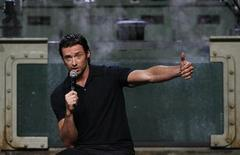 "<p>Australian actor Hugh Jackman answers a question during a media event for the movie ""X-Men Origins: Wolverine"" at Cockatoo island in Sydney, April 8, 2009. REUTERS/Daniel Munoz</p>"