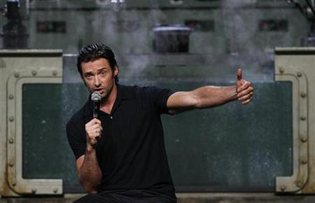 Australian actor Hugh Jackman answers a question during a media event for the movie ''X-Men Origins: Wolverine'' at Cockatoo island in Sydney April 8, 2009. REUTERS/Daniel Munoz