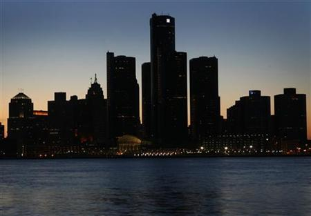 The Detroit skyline is shown during Earth Hour, March 29, 2008. REUTERS/ Mike Cassese