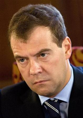 Russia's President Dmitry Medvedev attends a meeting with the leaders of Russia's dominant political party United Russia at a presidential residence outside Moscow, April 8, 2009. REUTERS/Sergei Karpukhin