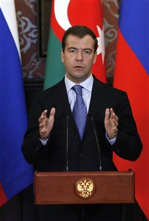Russian President Dmitry Medvedev speaks during a news conference at his residence outside Moscow April 17, 2009. Russian President Dmitry Medvedev said on Friday that planned NATO military exercises next month in Georgia were dangerous and would hinder efforts to rebuild relations with the Western alliance. REUTERS/Maxim Shipenkov/Pool