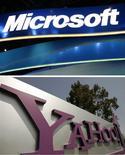 <p>Plus d'un an après le rejet par Yahoo de l'offre de rachat de Microsoft, les deux groupes ont repris les discussions autour d'un sujet moins sensible qu'une fusion éventuelle: un simple partenariat dans la recherche et la publicité sur internet. /Photos d'archives/REUTERS/Rick Wilking/Robert Galbraith</p>