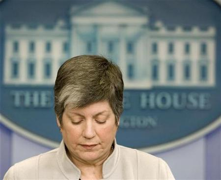 Secretary of Homeland Security Janet Napolitano in the press briefing room at the White House, March 24, 2009. REUTERS/Larry Downing