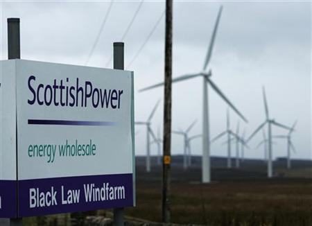 This file photo shows the main entrance to the Scottish Power owned Black Law wind farm in Lanarkshire, Scotland November 28, 2006. REUTERS/David Moir