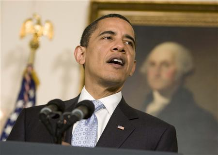 President Barack Obama speaks about higher education in the Diplomatic Room at the White House, April 24, 2009. REUTERS/Larry Downing