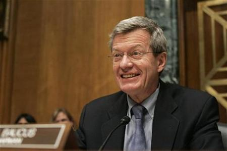 U.S. Senate Finance Committee Chairman Max Baucus addresses confirmation hearing for Ron Kirk to be U.S. trade representative before the U.S. Senate Finance Committee on Capitol Hill in Washington March 9, 2009. REUTERS/Hyungwon Kang