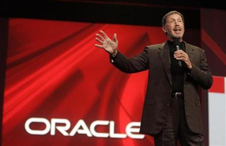 Oracle CEO Larry Ellison delivers his keynote address at Oracle OpenWorld in San Francisco, California September 24, 2008. REUTERS/Robert Galbraith