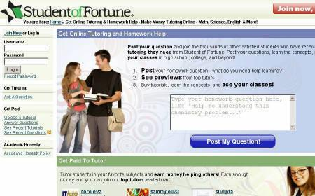 Sreenshot of StudentofFortune.com taken on May 21, 2009. REUTERS/studentoffortune.com