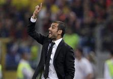 <p>Técnico do Barcelona, Pep Guardiola, durante a Liga dos Campeões em Roma. 27/05/2009. REUTERS/Darren Staples</p>