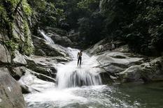 <p>A man stands at Lopo Waterfall in Hulu Langat near Kuala Lumpur January 27, 2009. REUTERS/Zainal Abd Halim</p>