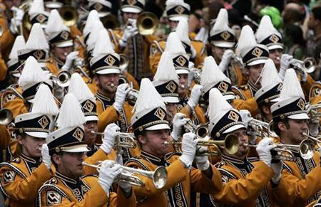 The Louisiana State University marching band celebrating Mardi Gras Day in New Orleans February 5, 2008. REUTERS/Sean Gardner
