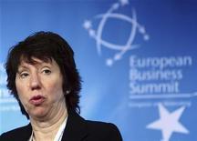 <p>Комиссар ЕС по торговле Кэтрин Эштон на саммите в Брюсселе 26 марта 2009 года. Евросоюз и Россия в четверг пришли к соглашению о том, что вступление Москвы во Всемирную торговую организацию должно быть завершено к концу текущего года, сказала комиссар ЕС по торговле Кэтрин Эштон. REUTERS/Eric Vidal</p>