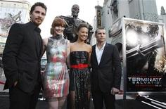 "<p>Cast members (L-R) Christian Bale, Bryce Dallas Howard, Moon Bloodgood, and Australian actor Sam Worthington pose at the U.S. premiere of the film ""Terminator Salvation"" at the Grauman's Chinese theatre in Hollywood, California, May 14, 2009. REUTERS/Danny Moloshok</p>"
