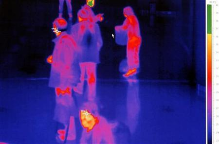 An airport thermal camera system monitoring the body heat of passengers arriving from abroad is displayed at Sofia airport April 29, 2009. REUTERS/Stoyan Nenov/Files