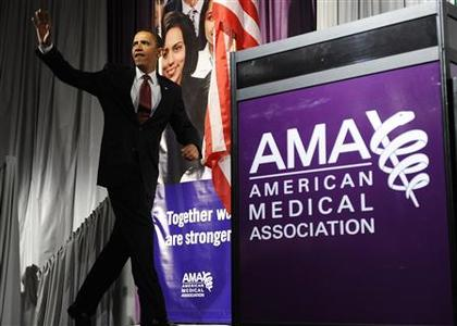 President Obama arrives to deliver remarks on the health care system at the annual meeting of the American Medical Association in Chicago, June 15, 2009. REUTERS/Jonathan Ernst