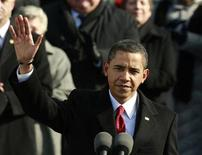 <p>U.S. President Barack Obama waves to the crowd before giving his inaugural address during the inauguration ceremony in Washington, January 20, 2009. REUTERS/Jason Reed</p>