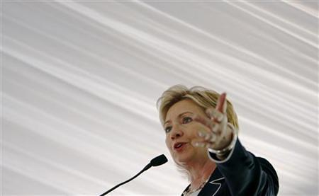 Secretary of State Hillary Clinton makes remarks after receiving the 2009 Alice Award at Sewall-Belmont House and Museum in Washington June 8, 2009. REUTERS/Jim Young