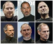 <p>De gauche à droite, serie de portraits de Steve Jobs, de juillet 2000 à septembre 2008. Selon le Wall Street Journal, le directeur général d'Apple, déjà soigné pour un cancer du pancréas en 2004, a subi une transplantation du foie il y a deux mois mais devrait reprendre le travail d'ici la fin juin. /Photo d'archives/REUTERS</p>